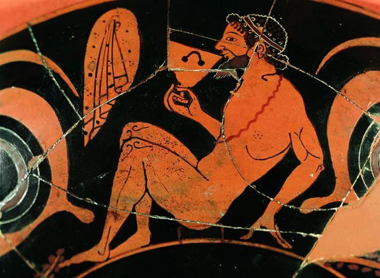 Athéni vörösalakos külix (ivócsésze), részlet, Kr. e. 520 körül
